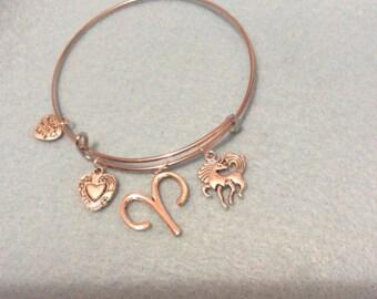 Silver expandable aries zodiac bangle