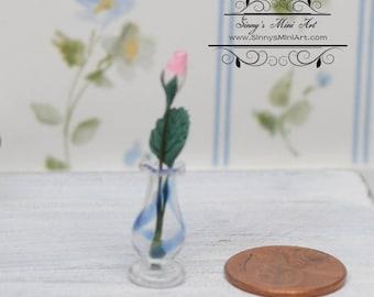 1:12 Dollhouse Miniature Rose in Glass Vase/ Miniature Flowers/ Miniature Gardening BD R505