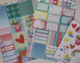 HORIZONTAL Hello Spring! KAWAII Planner Sticker Set