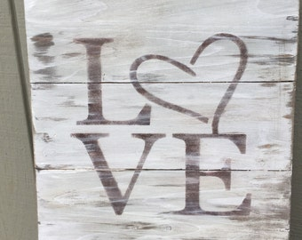 Discounted to sell! Rustic love pallet sign, Valentine's Day sign, gift idea, Valentine's Day gift, love sign, wall decor