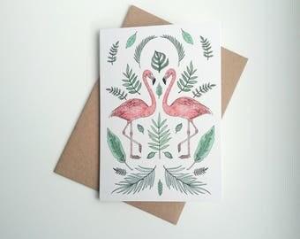 Flamingos || A6 Greetings Card