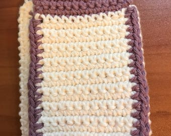 Purple / White handmade crochet cell phone / iPhone pouch