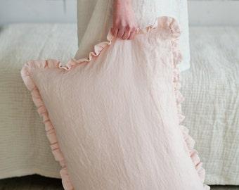 Ruffled linen pillow case, softened linen. Linen pillow case with ruffles. Pink linen pillowcase. Pink linen bedding. Natural pillow