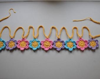Pink, Purple and Blue Crochet Flower Garland