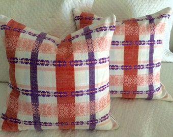 "Vintage 16"" Pink Plaid European Fabric Pillow"