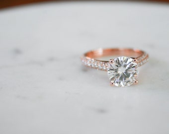 Round Moissanite Diamond, Engagement Ring, Diamond, Rose Gold, Pave Diamond, Moissanite Ring