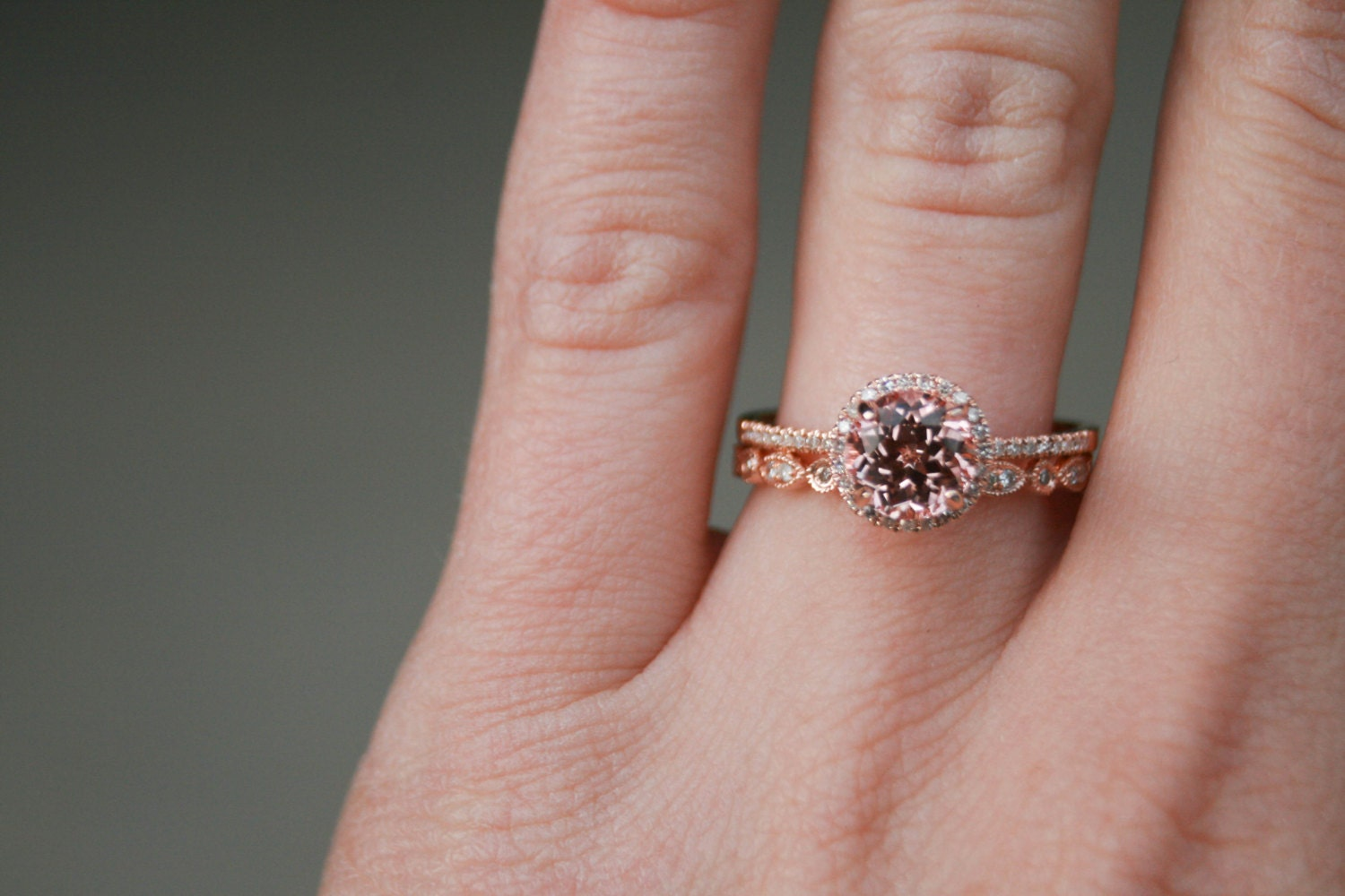Halo Engagement Ring, Champagne Sapphire Halo Ring, Rose Gold Ring ...
