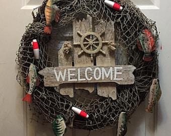 Man Cave Decor, Front Door Decor, Door Decor, Lake Decor, Lake Wreath, Fishing Wreath, Fishing Decor, Father's Day Gift