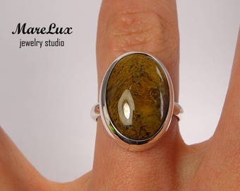 Natural Terracotta Orange Agate Cabochon Ring, Silver or Gold or Gold Plated Terracotta Agate Ring, Semi-transparent Orange Stone Ring