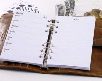 Calendar deposits 2018 Personal 1 week + note 1W1S-Planner inserts Personal 1 week + notes 1W1P 2018 Filofax 0196-pe-ka