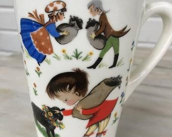 vintage child's nursery rhyme mug, black sheep, little bo peep, baby shower gift, nursery decor