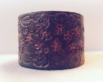 Floral Red Leather Cuff