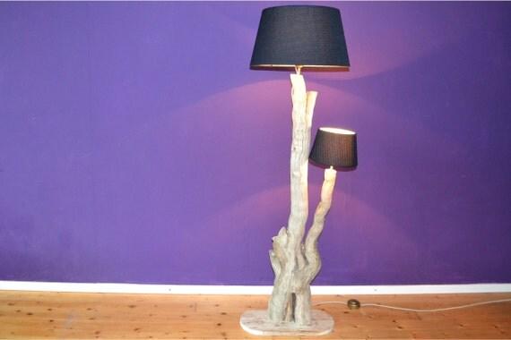 Items similar to wooden floor lamp 39split39 on etsy for Wooden floor lamp etsy