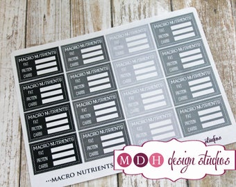 Macro Nutrient Tracking Stickers, Fitness Planner Stickers, Healthy Living Planner Stickers, Neutral Planner Stickers