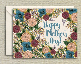 Happy Mother's Day- Mother's Day Card, Embroidery Hoop, Embroidery Art, Floral Mother's Day Card, Card Set