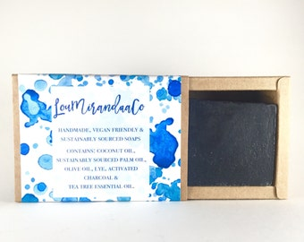Extra Large Activated Charcoal Handmade Soap | Vegan Soap Bar | Sustainable Eco Body and Face Bar | Personalised Gift | Acne Soap