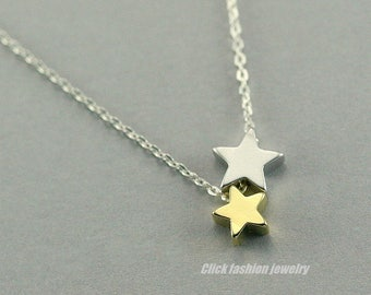 Star necklace, 2 stars necklace, personalized star necklace, gold and silver star, best friend gift, 2 best friend, mother daughter gift