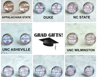 Graduate - North Carolina Map Stud Earrings