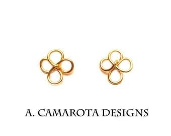 Gold Clover Earrings/ Clover StudEarrings/Flower Stud Earrings SALE