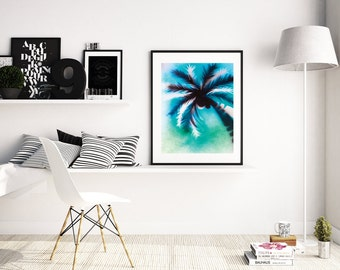 Palm Tree Art, Palm Art Print, Stencil Art Print, Spraypaint Art, Tropical Wall Art, Tropical Art, Beach Decor, Palm Tree Print, A4 A3 size