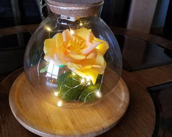 LED HANDMADE Crepe Paper Rose in a Glass Jar/Glass Round Terrarium with a Pink Rose/ Crepe paper Flowers in Glass Lightbulb Arrangement