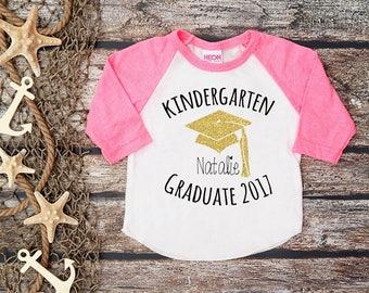 Kindergarten Graduate Shirt;Kindergarten Graduation;Graduation Shirt;Teacher Shirt;Last Day of School Shirt;Black Baseball Shirt;Glitter