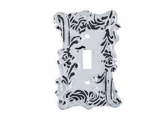 Distressed White Single Metal Switch Wall Plate Decor