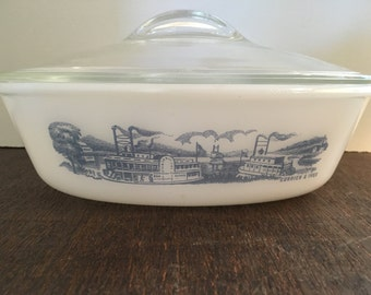 Glasbake Steamboat Currier & Ives Milk Glass Baking Dish