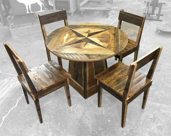 Reclaimed Barn Wood Compass Table and Chairs