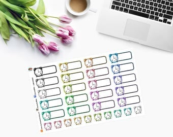 KAWAII Alarm Clock/Appointment - Planner Stickers - CAM00054