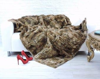 Luxury genuine rabbit fur throw, blanket, natural colour, 200cm x 140cm, i842