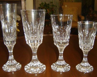 Vintage French Baccarat Crystal Glasses 32 Piece Set All Signed With Trademark  Circa 1960's Exquisite.