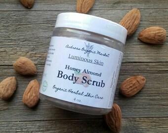 Organic Honey Almond Body Scrub, Exfoliating Scrub, Organic Sugar Scrub, Natural Skin Care, Organic Skin Care, Body Polish