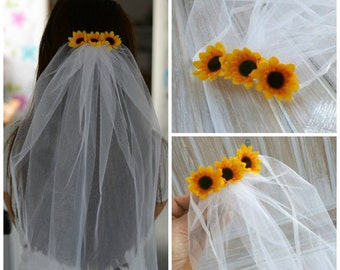 Party Veil Bachelorette Sunflower  Veil Bridal Party Lace Burlap Veil Bride to be Rustic Wedding Bridal Gift Veil Sash