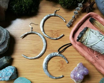 Large silver soldered textured crescent moon pendant and earring set ~ statement earrings // jewelry set // hippie // boho // vegan // witch
