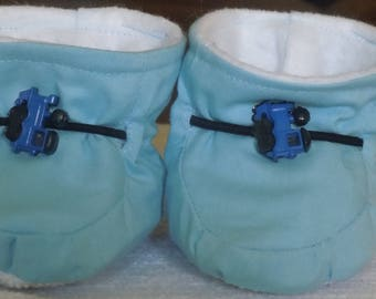 Blue Train Baby Boy Booties