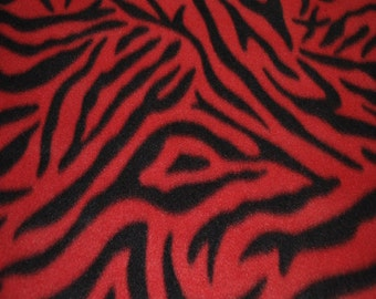 Red Zebra Print Fleece Fabric - Sold BTY