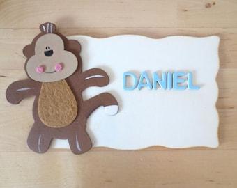 Kids Door Sign - Kids Room Sign - Monkey Personalised Door Sign  - Children's Bedroom Plaque - Kids Personalised Plaque - Kids Name Plaque