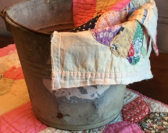 Vintage Bucket and Floral Quilt Layers Prop Set