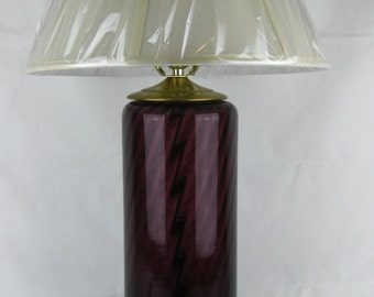 Equestrian Collection, Glass Blenko Lamp, Purple with ivory shade. Cylinder Shaped. Made in West Virginia.