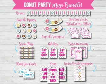 Donut Birthday - Party Mega Bundle - Printable Set - Doughnut - Cupcake Toppers - Wrappers - Gift Tags - Invitations - Banner - Cards - PDF
