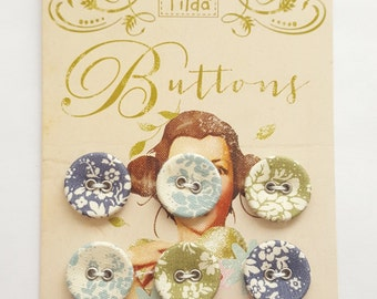 Tilda Pardon my garden fabric covered buttons, 6 buttons 17mm crafting sewing quilting Tilda