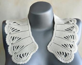 Vintage Crochet Collar, Ivory Collar 1970's made in USSR, Crochet Collar, Neck Accessory