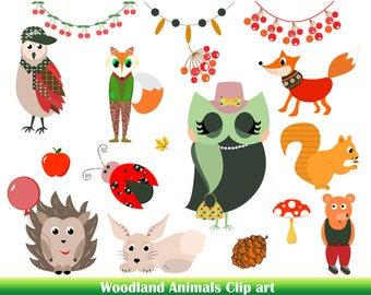 Premium Woodland animals clip art Cute animals Vector animals Characters Woodland forest animal clipart Baby animals Baby clipart Cartoon