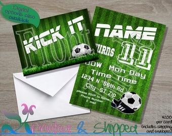 Soccer Field Invitation; Folded Card; Postcard; PDF; E-Card