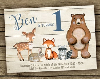 Woodland Birthday Invitation, Woodland Animals Invite, Boy Birthday, Forest Friends, Fox, Raccoon, Deer, Bear, Customized Printable Invite