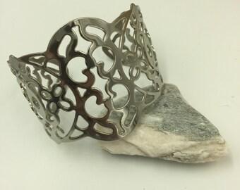 Silver Tone Wide Cuff Bracelet
