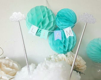 Decoration - Garland name for cake - blue-green and silver - sequined silver clouds