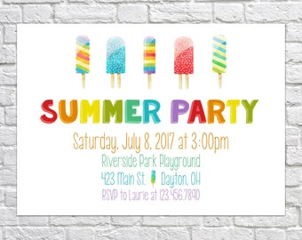 Popsicle Party Invitation, Summer party invitation, School's out party invite, ice cream invitation, Pool party invitation, End of Summer
