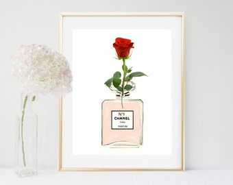 Printable Chanel Art Print, Flower Wall Art, Perfume Bottle, Wall Art,  Home Decor, Wall Decor, Instant Download
